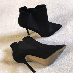 Black suede stiletto booties